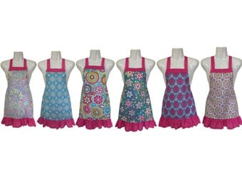 Kids Apron Set of 6 // Colorful Floral and Paisley // Great for Baking Party // Kids Party // Size 4-6-8-Young Adult