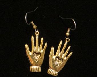 Heart in Hand Earrings 24 karat Gold Plate Hearts Hands Volunteer Helper Gift EG327