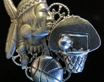 Braves Basketball Pin Warriors Chiefs Silver Plate and Oxidized Matte Silver Basketball Goal Basketball Mom PS158