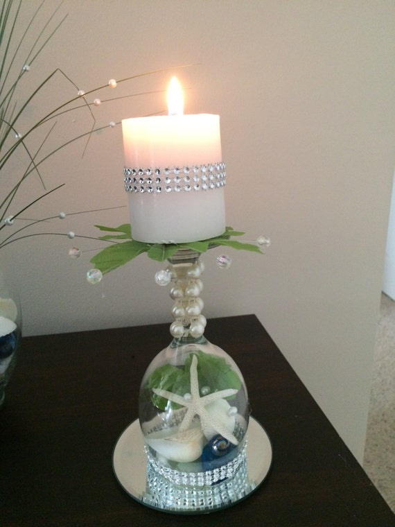 Beach wedding seashell wine glass candle by myawesomewedding for Beach wine glass candle holders