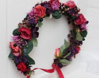 Cranberry purple flower crown Wedding flower crown Bridal headband Floral crown Marsala flower crown Flower hair wreath Flower halo