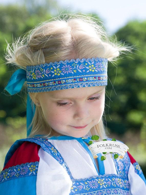 Russian traditional cotton headdress Povyazka, Girl headdress, Woman headdress