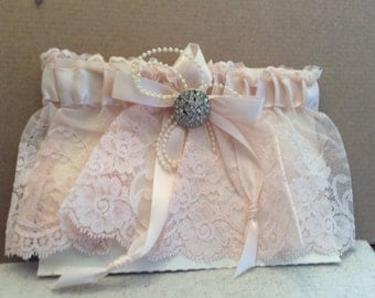Pale Blush Lace Garter Belt with Crystal Accent
