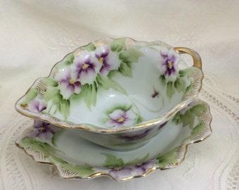Antique Serving Dishes, Bone China, Floral Serving Dish, Purple Floral Patterns, Lavender Flower Patterns, Sauce Serving Dish, Hand Painted