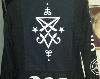 lucifer sigil black metal dimmu borgir satan tripp nyc denim jacket