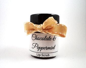 Chocolate and Peppermint Lip Scrub - Sugar Lip Scrub Natural Lip Scrub Handmade Lip Scrub - Sugar Scrub Handmade Scrub Natural Scrub