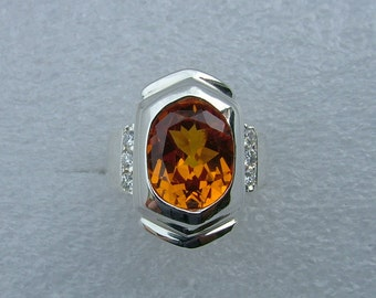 Silver ring with garnet and Cubic zirconia.  Garnet ring.  Diamond ring. Silver ring.