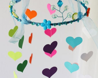 rainbow hearts crib mobile with multi colored hearts,garden mobile, nursery mobile,mobile bebe  feerique