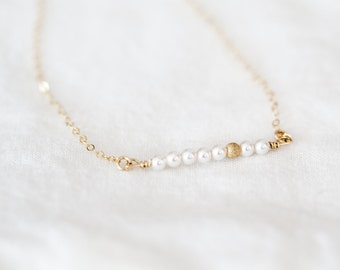 Pearl Necklace - Pearl Necklace Wedding - New Mom Necklace - Pearl Bar Necklace - Pearl Layering Necklace - Gift for Mothers Day - New Mom