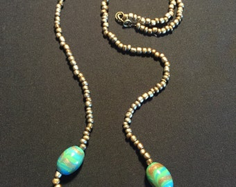 Golden Beaded Necklace with Large Green/Blue/Gold Swirled Glass Beads
