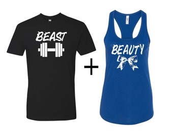 Beauty and Beast shirts,Men's t-shirt with ladies Racerback, couples shirts, beauty and the beast, workout shirts, couples matching shirts
