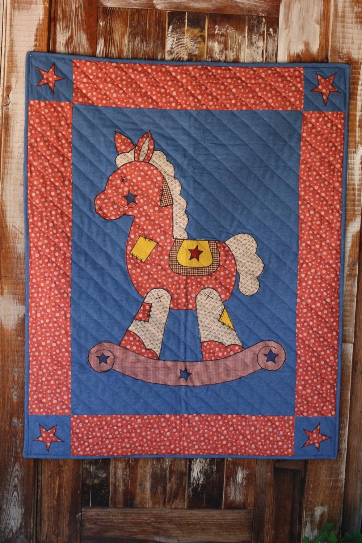 Rocking Horse Baby Quilt By Honeybeelinens On Etsy