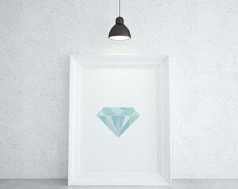 Geometric Gemstone Art - Diamond, April Birthstone Print, Gift For Women, Modern Wall Decor, Instant Download Printable Artwork