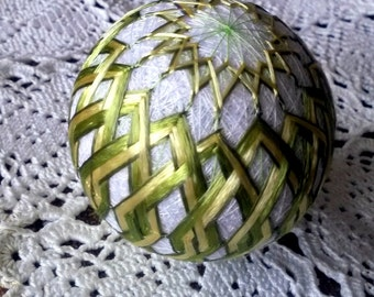 Decorative temari ball, Japanese ornament, Gold and green bauble, Yellow and green sphere, Modern home decor, Hand embroidered diamonds, UK