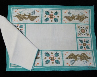 Linen Placemats & Napkins, Set of 4, Virginia Zito,Vintage