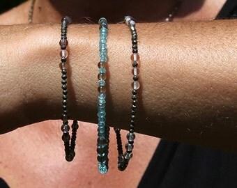 Apatite / pyrite / quartz / smoky quartz bracelets