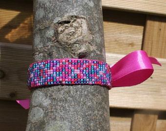 Beaded Pink Ribbon Bracelet