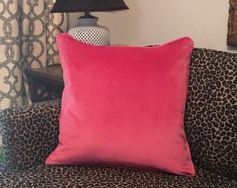 """20"""" Velvet Throw Pillow Cushion Cover in Dragon Fruit Pink with Piping & Hidden Zipper Fabric Sample available"""