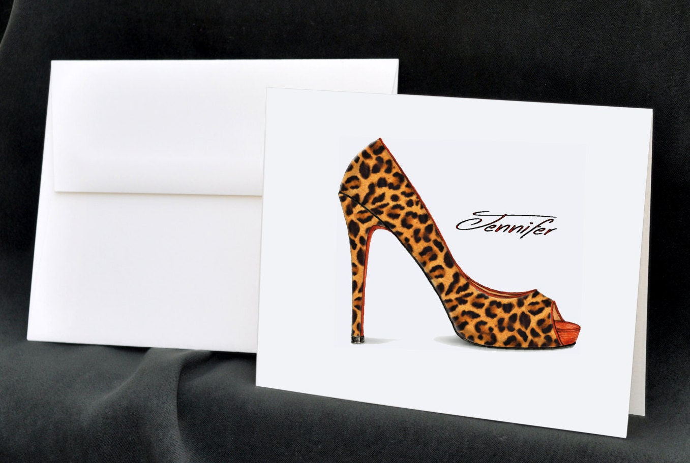 Leopard Print Personalized Note Cards by TheEnchantedEnvelope