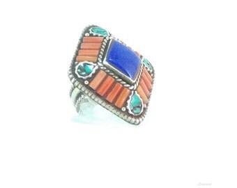 Tibetan ethnic diamond ring