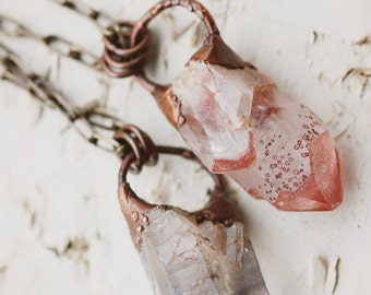 Raw Crystal Necklace: bohemian pendant, rough gemstone necklace, crystal point, necklace with crystals, druzy necklace, rose quartz necklace