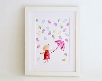 Childrens wall art - Mouse vs Jellybeans, kids art print, nursery art print,