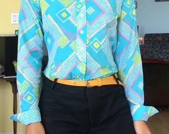 Vintage sz L 70s jumpshirt, one piece, jumper, leotard