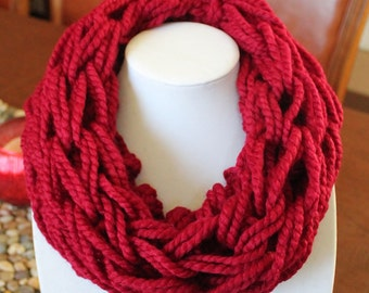 Burgundy Single Arm Knit Scarf