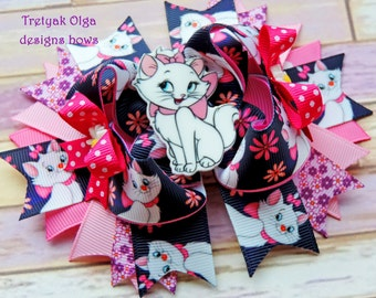 Marie Cat Aristocats Hair Bows-Aristocats inspired Hair Bow-Pink Marie Cat Bow