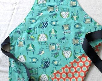 Girl's Apron, Reversible, Teal Owls with Coral Circles and Navy Ribbon