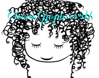Curly Hair Girl SVG