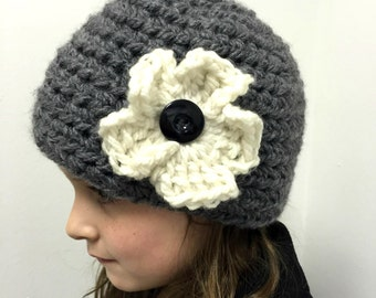 Girls Crochet Beanie with Large Button Flower