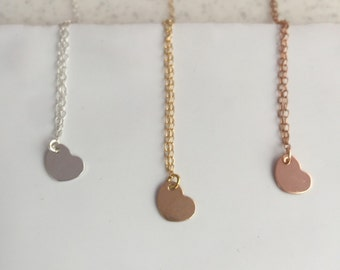 Heart Necklace Silver Heart Gold Heart Necklace Heart Pendant Dainty Necklace Bridesmaid Gift Gold Necklace Rose Gold Heart Love Necklace