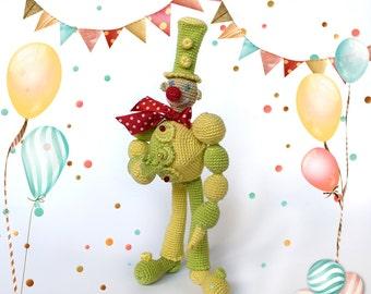 Circus сlown doll ridiculous cheerful bright multi-colored toy clown crochet  amigurumi