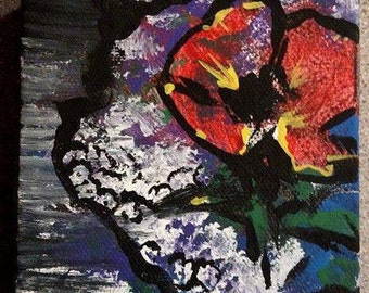 """4""""x4"""" Original Acrylic Painting- """"Lady Likeness"""" Floral Abstract Art"""