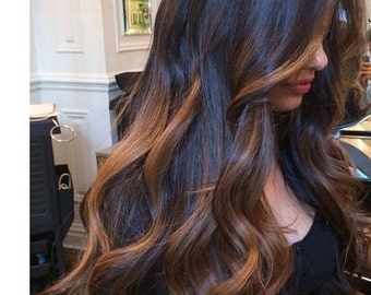 Clip in Extensions-Bayalage /Ombre European Hair/7 piece set/Luxury Quality/ 100% Human Hair/ Re-usuable for a life time!