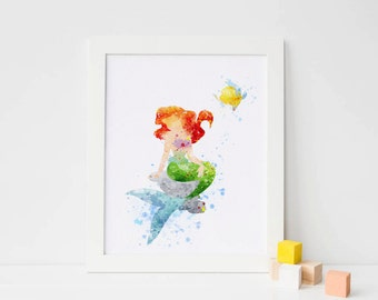 Princess Ariel Poster - Watercolor Art Print, ariel Nursery ariel Decor, Disney Little Mermaid Poster, Baby Nursery Wall Art ariel disney