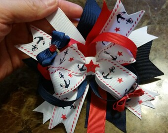 Anchor stacked hair bow