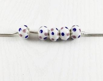 5 Polka Dot European Beads, European Charm Beads, European Bracelet, Glass Murano Beads, Large Hole Beads, Bracelet Beads, EB1139