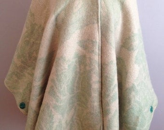 Green & Cream Floral Wool Cape