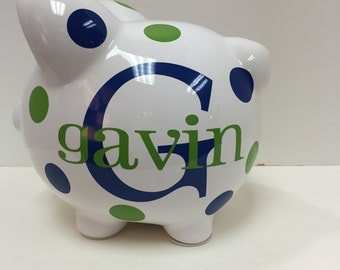 Personalized Piggy Bank-Piggy Bank-Ceramic Piggy Bank- Childrens Piggy Bank- Custom Piggy Bank-piggy bank Boys