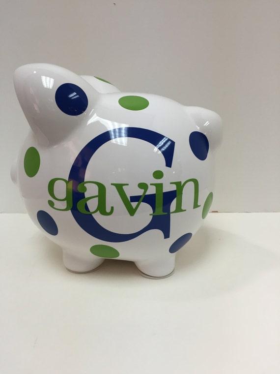 Personalized piggy bank piggy bank ceramic piggy bank piggy for Childrens piggy bank