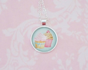 MUFFINS glass cabochon pendant, Kawaii Necklace, Cute Necklace, Girly pendant, Pink pendant