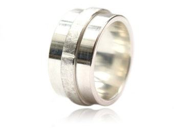 Big silver ring, the center movable, solid ring, gift for him, men,for women, wide ring