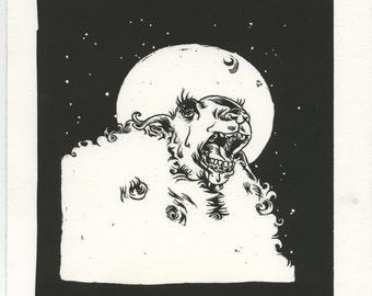 Black Sheep Linocut