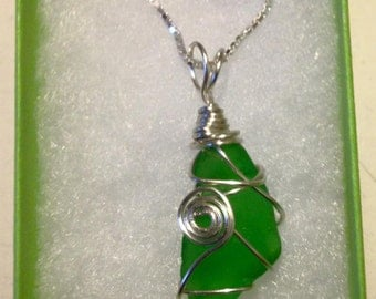 vibrant green sea glass on sterling silver chain