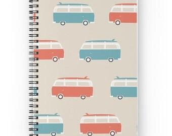 VW Bus Journal - Volkswagen Notepad - Surfboard Notebook - Surfer Notebook - Surf Notebook - Van Journal - Spiral Notebook - Spiral Journal