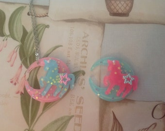 Unicorn Moon Necklace- Decora, Fairy Kei, Lolita