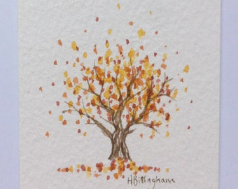 Little Autumn Tree - original miniature watercolour painting