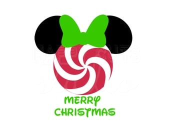 Personalized Peppermint Mickey Mouse Minnie Mouse Christmas Matching Family Mother Daughter Disney Iron On Decal Vinyl for Shirt 178